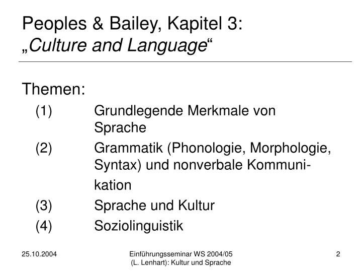 Peoples & Bailey, Kapitel 3: