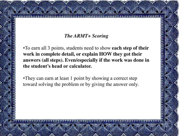 The ARMT+ Scoring