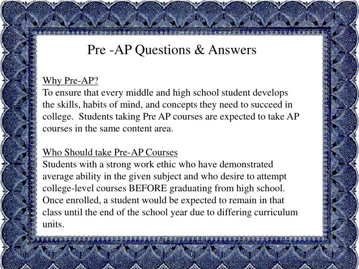 Pre -AP Questions & Answers