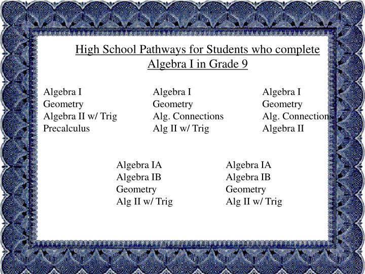 High School Pathways for Students who complete