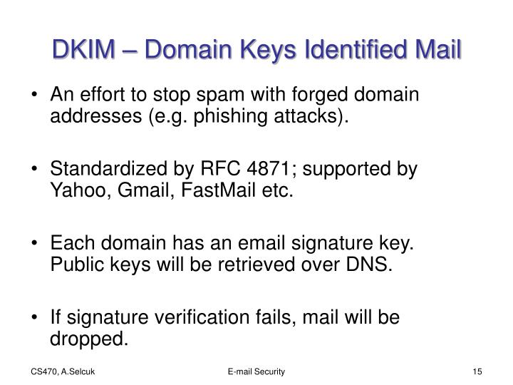 DKIM – Domain Keys Identified Mail