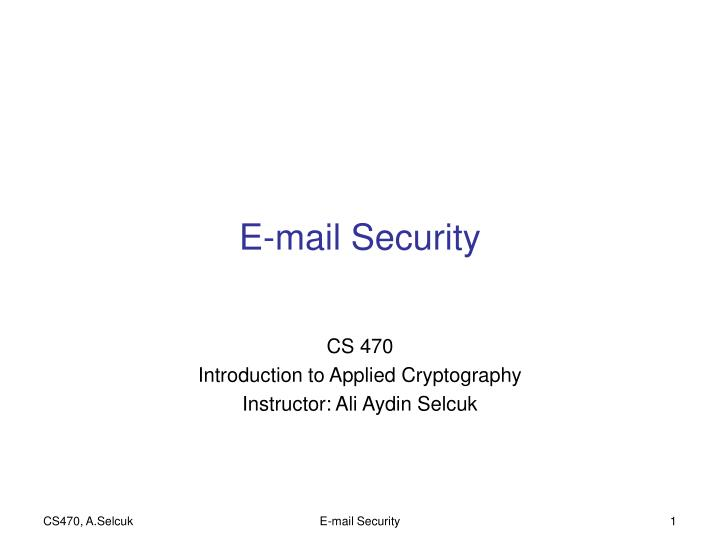 E mail security
