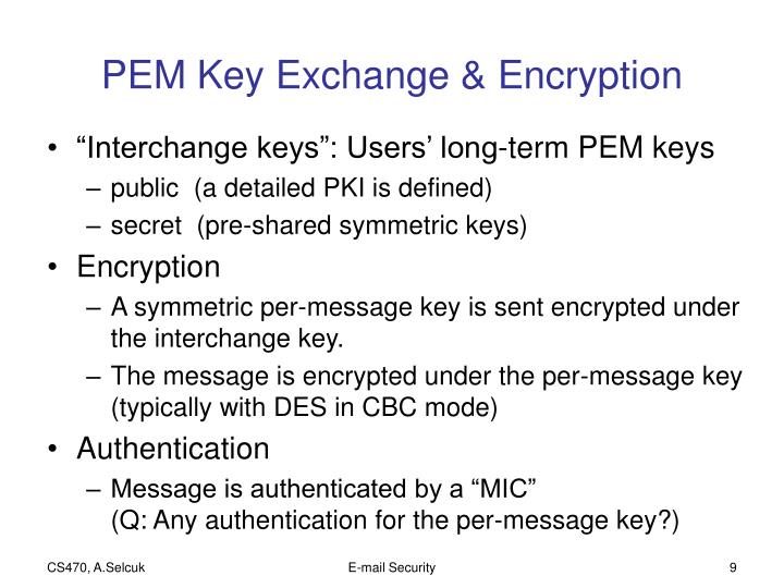PEM Key Exchange & Encryption