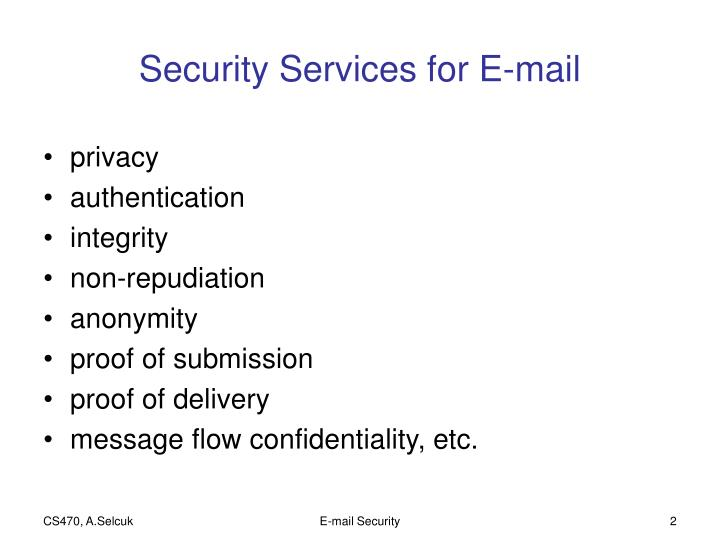 Security services for e mail