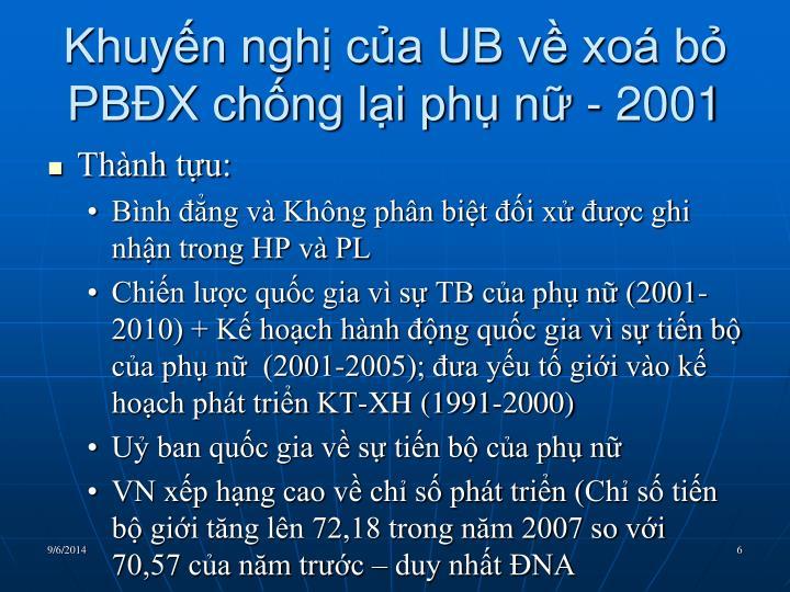 Khuyến nghị của UB về xoá bỏ PBĐX chống lại phụ nữ - 2001