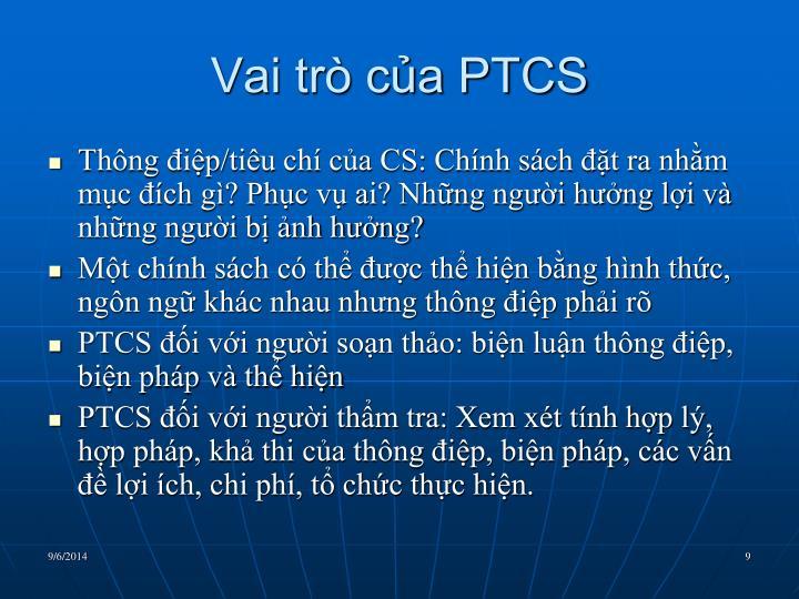 Vai trò của PTCS