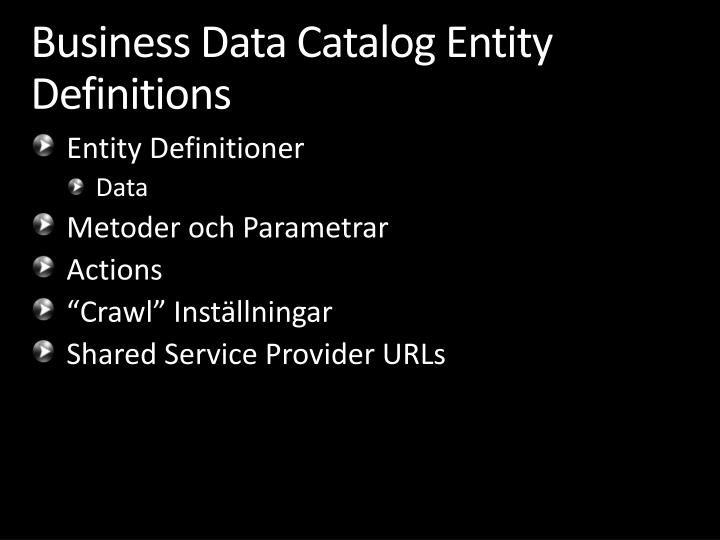 Business Data Catalog Entity Definitions