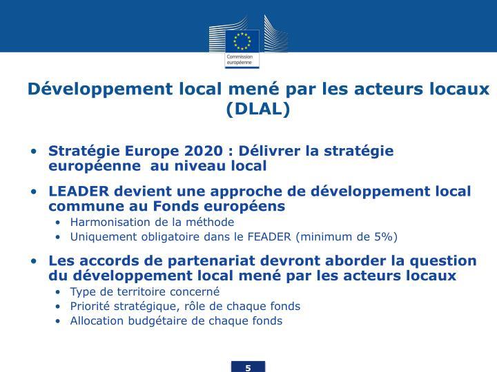 Développement local mené par les acteurs locaux (DLAL)