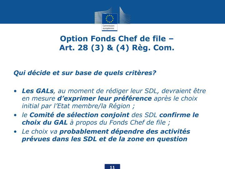 Option Fonds Chef de file –