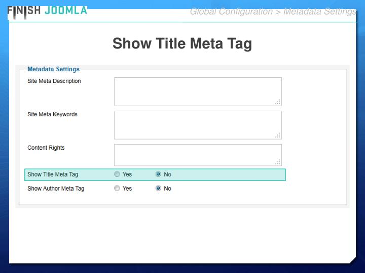 Global Configuration > Metadata Settings