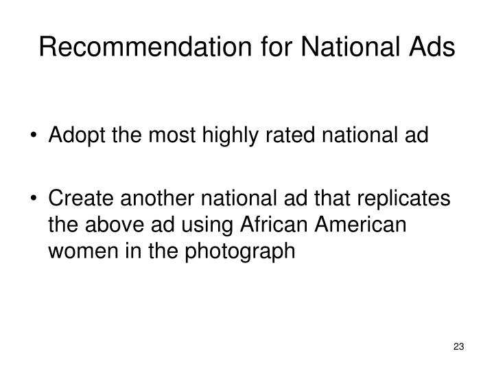 Recommendation for National Ads