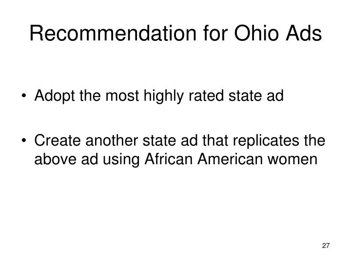 Recommendation for Ohio Ads