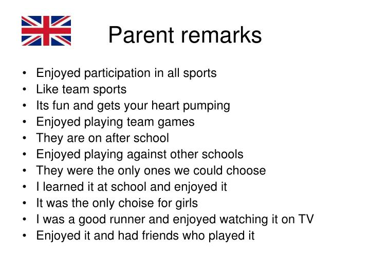 Parent remarks