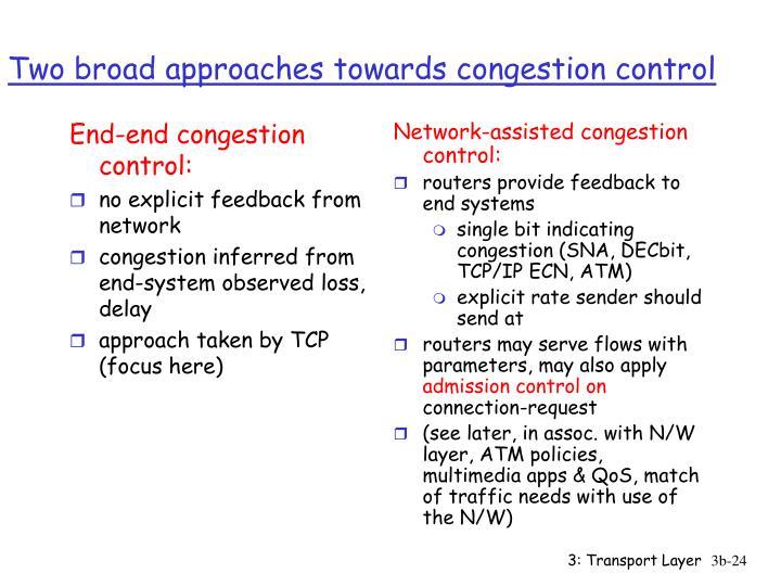 End-end congestion control: