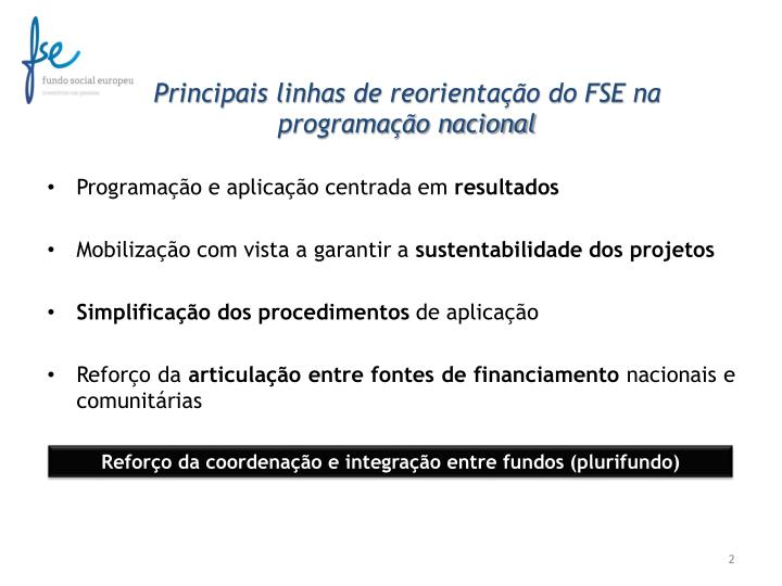 Principais linhas de reorientação do FSE na