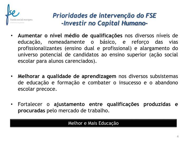 Prioridades de intervenção do FSE