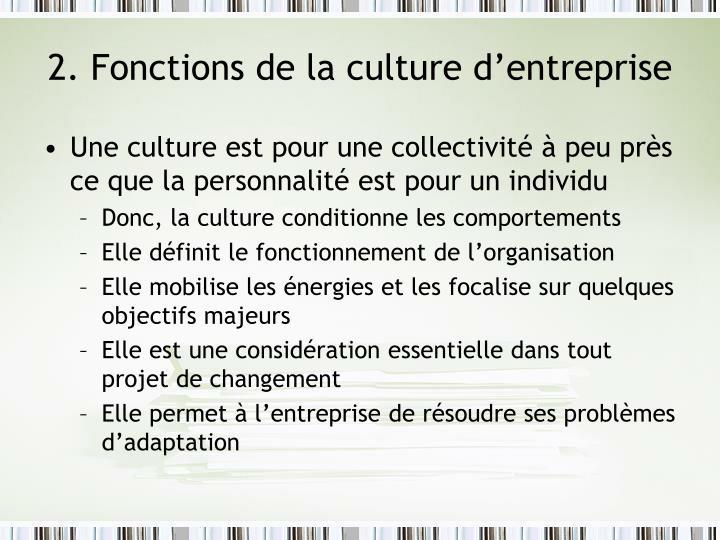 2. Fonctions de la culture d'entreprise