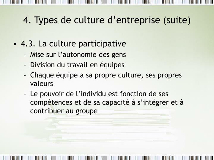 4. Types de culture d'entreprise (suite)