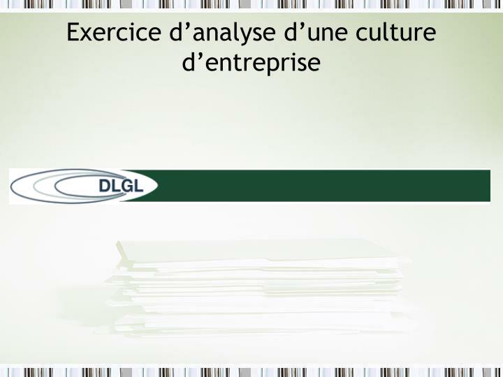 Exercice d'analyse d'une culture d'entreprise