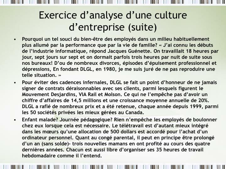 Exercice d'analyse d'une culture d'entreprise (suite)