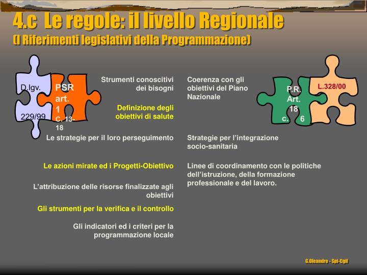 4.c  Le regole: il livello Regionale