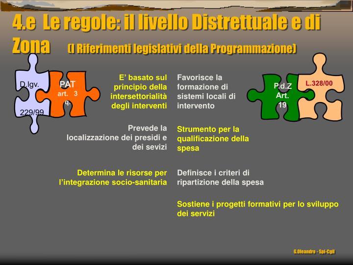 4.e  Le regole: il livello Distrettuale e di Zona