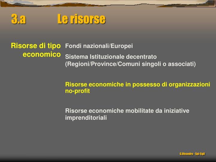 3.a               Le risorse