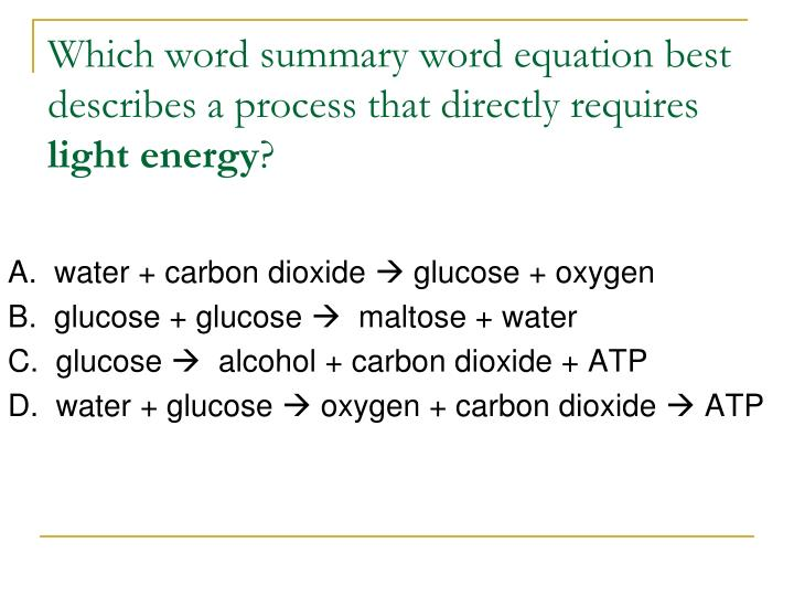 Which word summary word equation best describes a process that directly requires