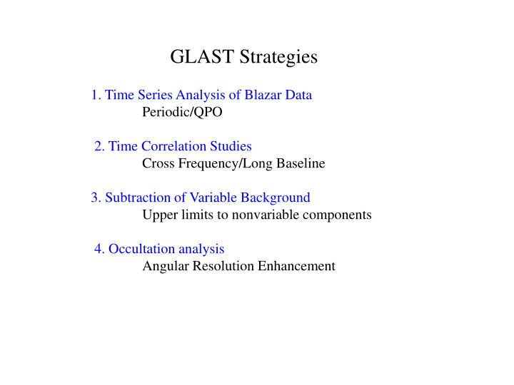 GLAST Strategies