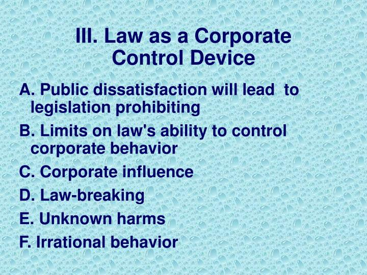 Iii law as a corporate control device