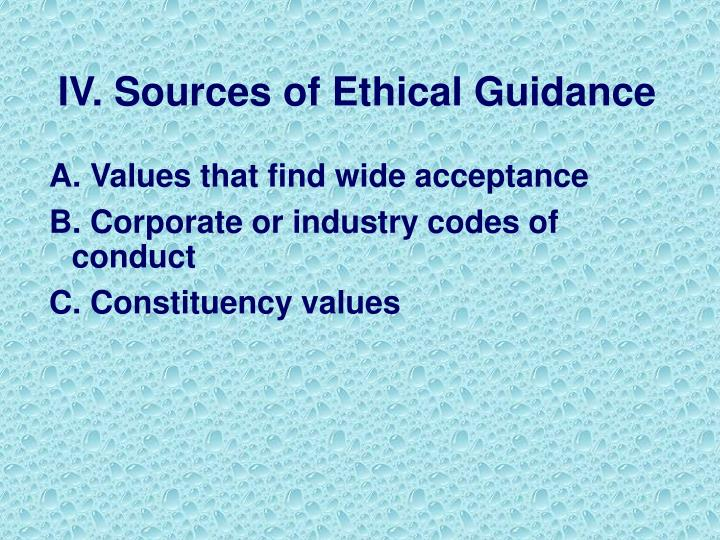 IV. Sources of Ethical Guidance