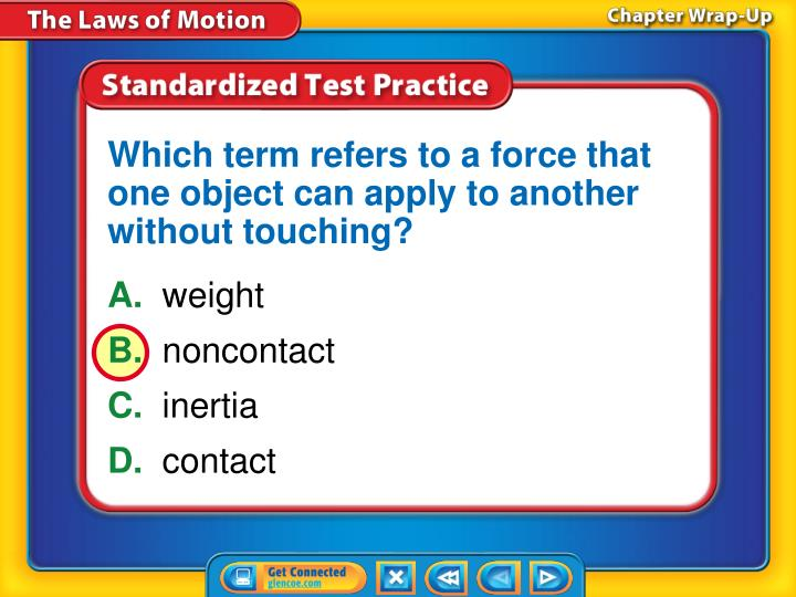 Which term refers to a force that one object can apply to another without touching?