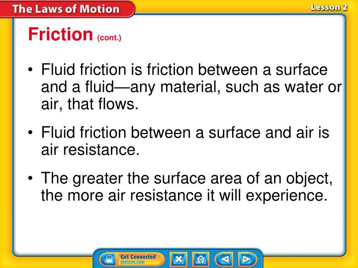 Fluid friction is friction between a surface and a fluid—any material, such as water or air, that flows.