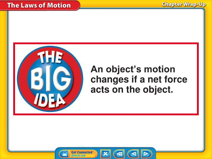 An object's motion changes if a net force acts on the object.