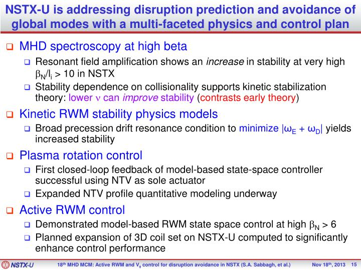 NSTX-U is addressing disruption prediction and avoidance of global modes with a multi-faceted physics and control plan