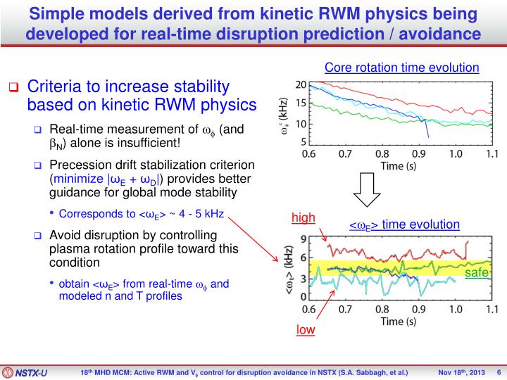 Simple models derived from kinetic RWM physics being developed for real-time disruption prediction / avoidance