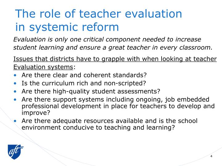 The role of teacher evaluation
