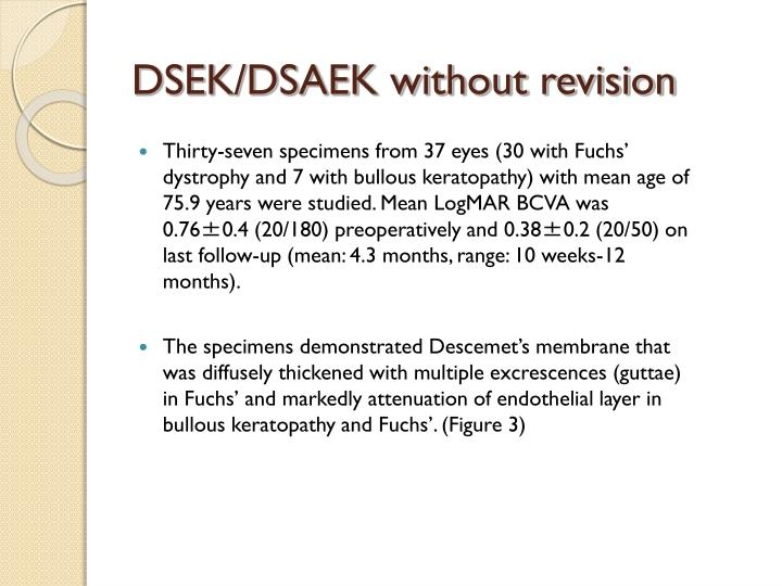 DSEK/DSAEK without revision