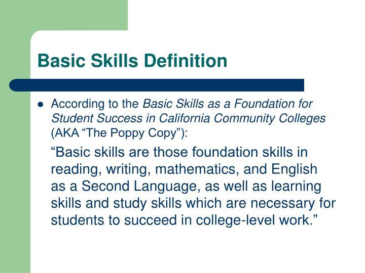 Basic Skills Definition
