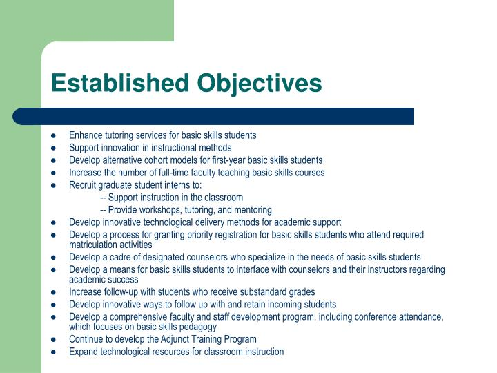 Established Objectives
