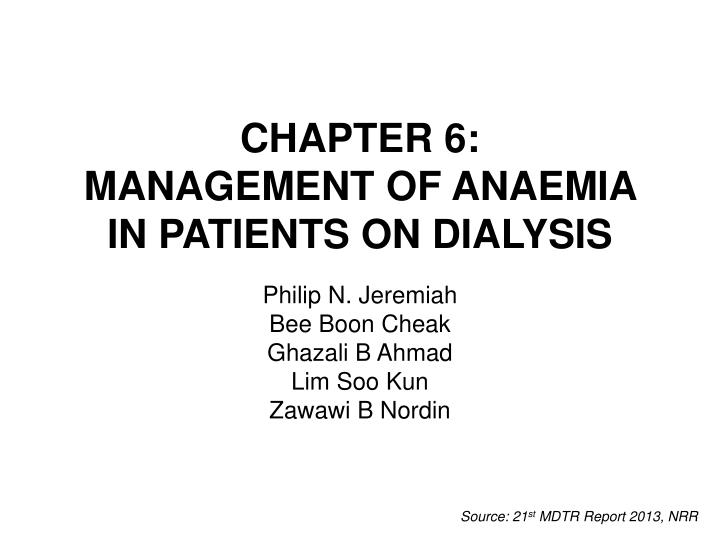 chapter 6 management of anaemia in patients on dialysis