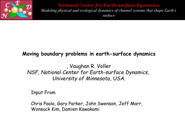 Moving boundary problems in earth-surface dynamics