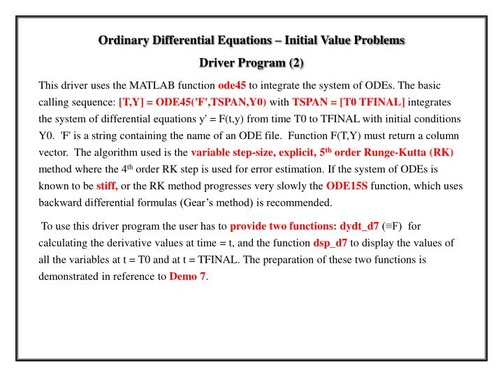 Ordinary Differential Equations – Initial Value Problems