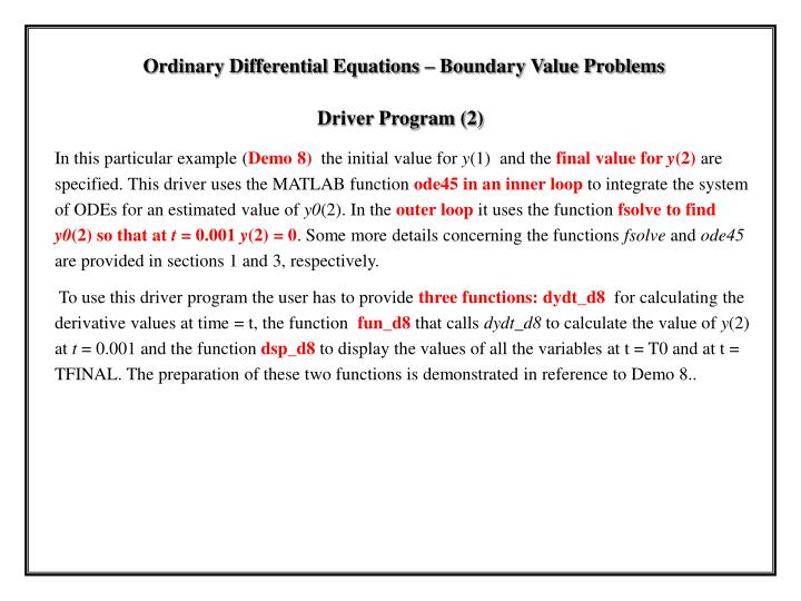 Ordinary Differential Equations – Boundary Value Problems