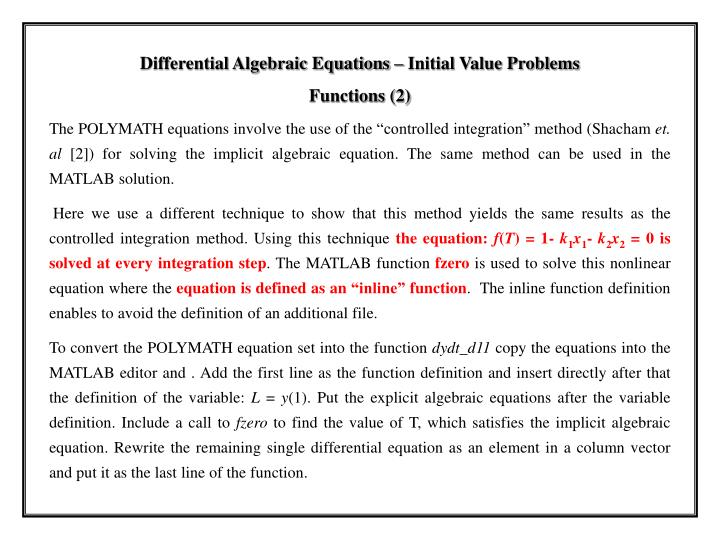 Differential Algebraic Equations – Initial Value Problems