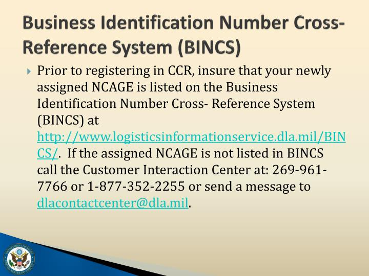 Business Identification Number Cross- Reference System (BINCS)