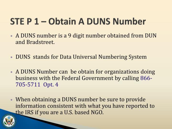 STE P 1 – Obtain A DUNS Number