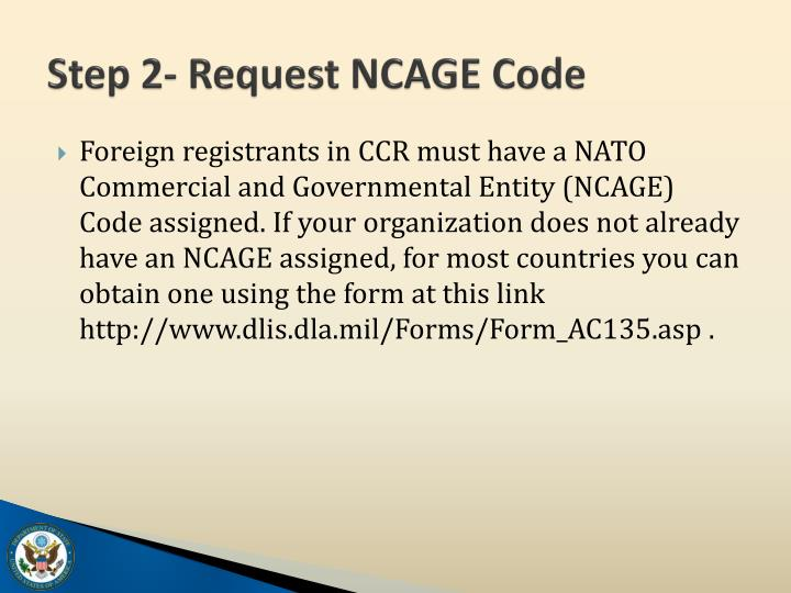 Step 2- Request NCAGE Code