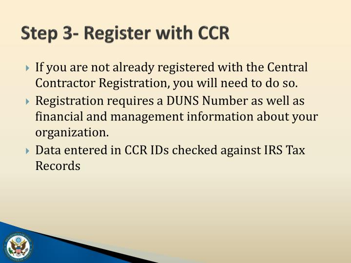 Step 3- Register with CCR