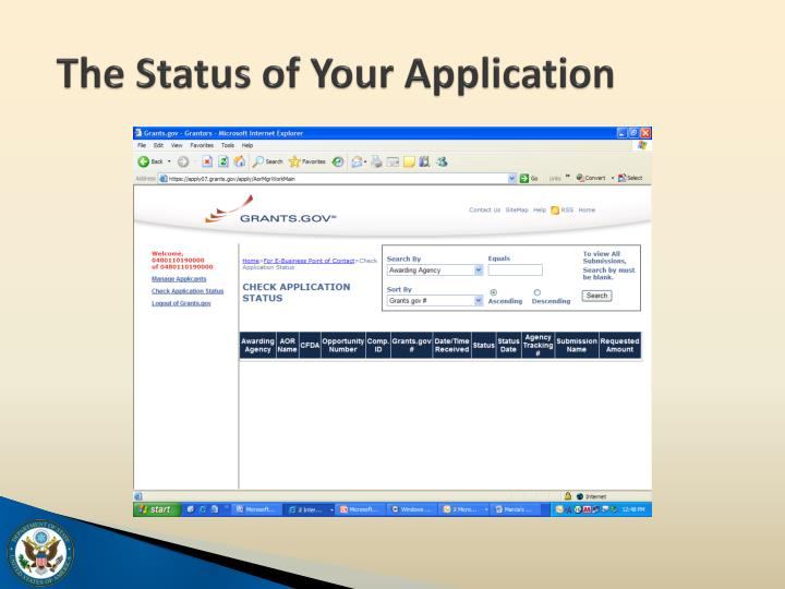 The Status of Your Application